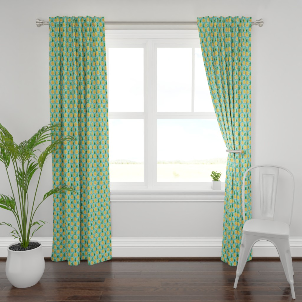 Plymouth Curtain Panel featuring Tropical Pineapple - Turquoise Geometric Fruit by heatherhightdesign