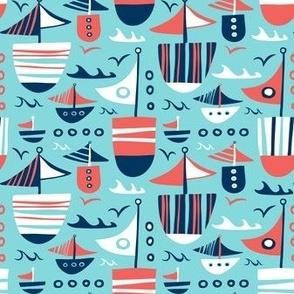 Set Sail - Nautical Boats Aqua Blue