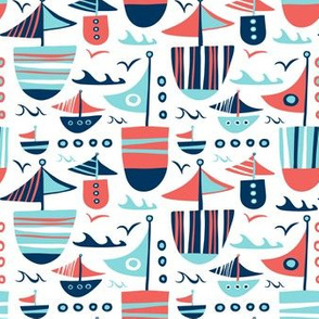 Set Sail - Nautical Boats White