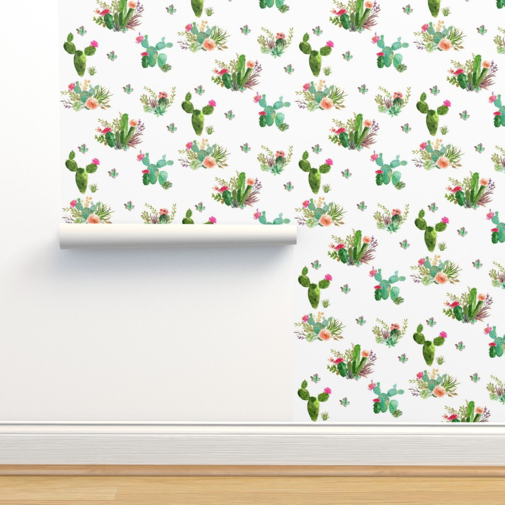 "Isobar Durable Wallpaper featuring 8"" Western Flowers - White by shopcabin"