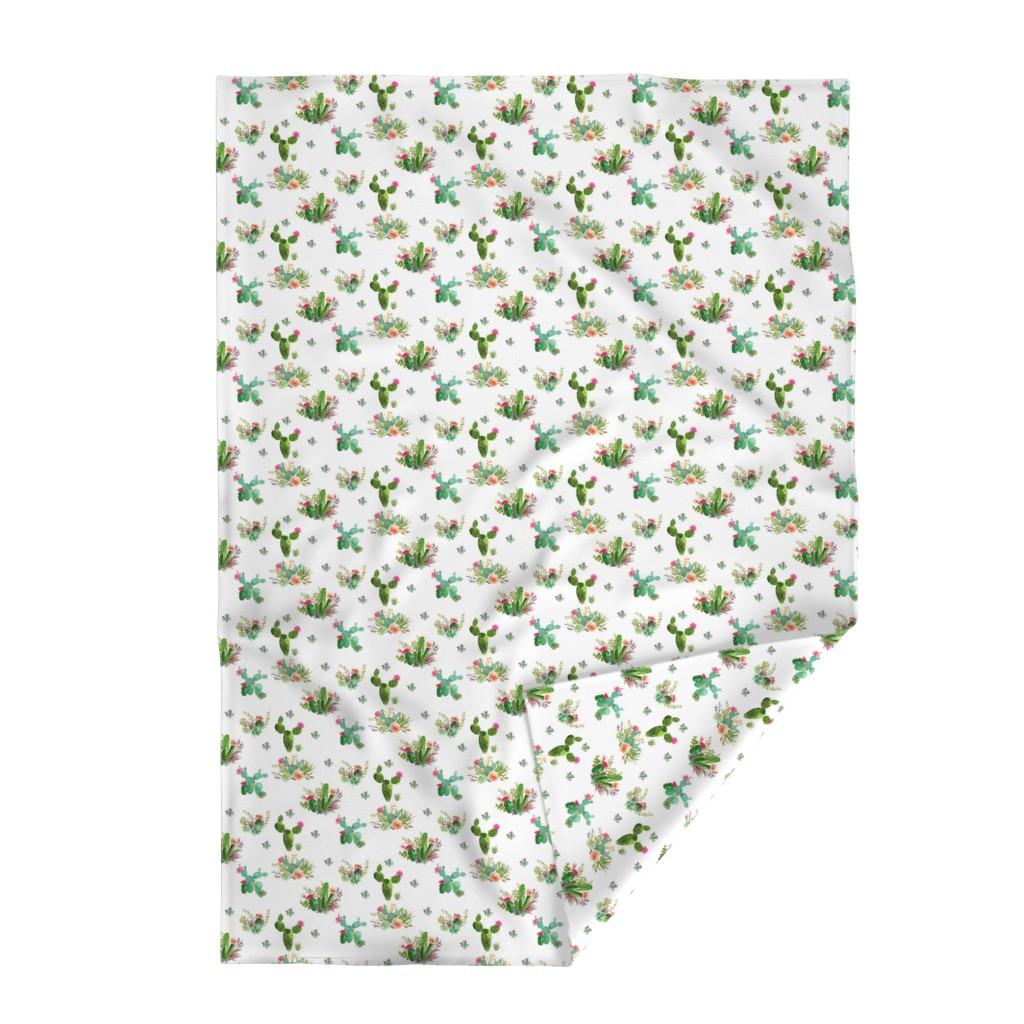 "Lakenvelder Throw Blanket featuring 8"" Western Flowers - White by shopcabin"