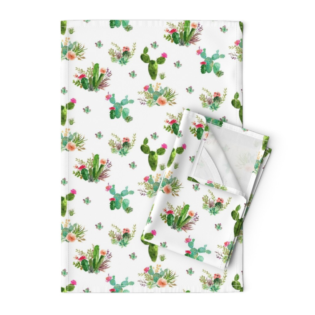 """Orpington Tea Towels featuring 8"""" Western Flowers - White by shopcabin"""