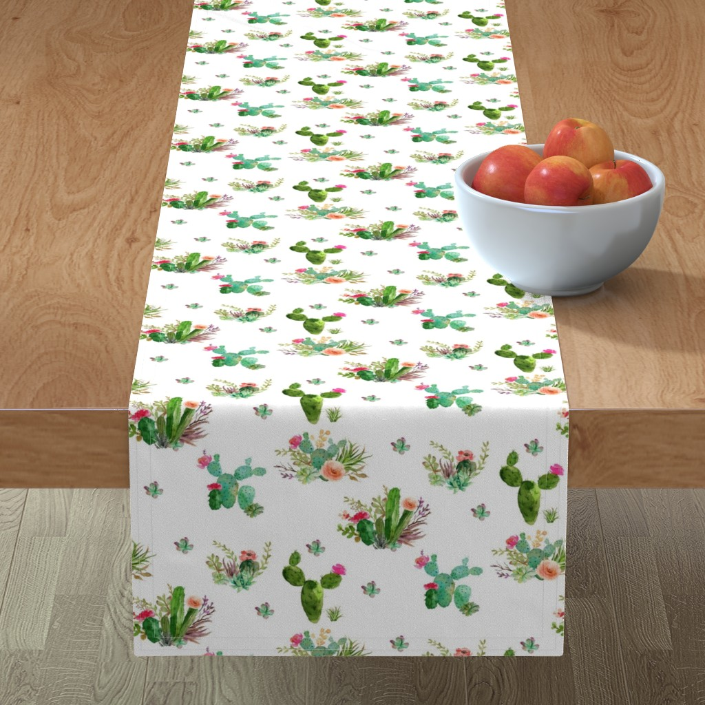 """Minorca Table Runner featuring 8"""" Western Flowers - White by shopcabin"""