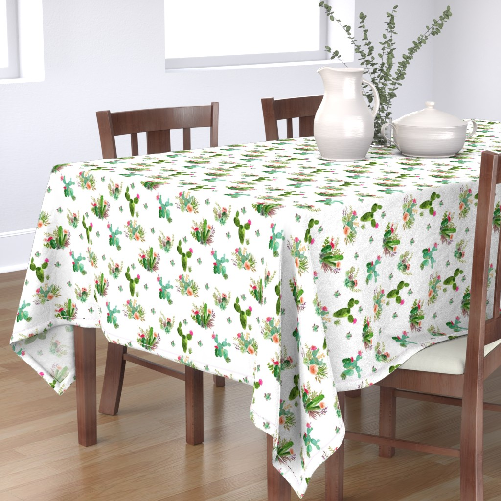 "Bantam Rectangular Tablecloth featuring 8"" Western Flowers - White by shopcabin"