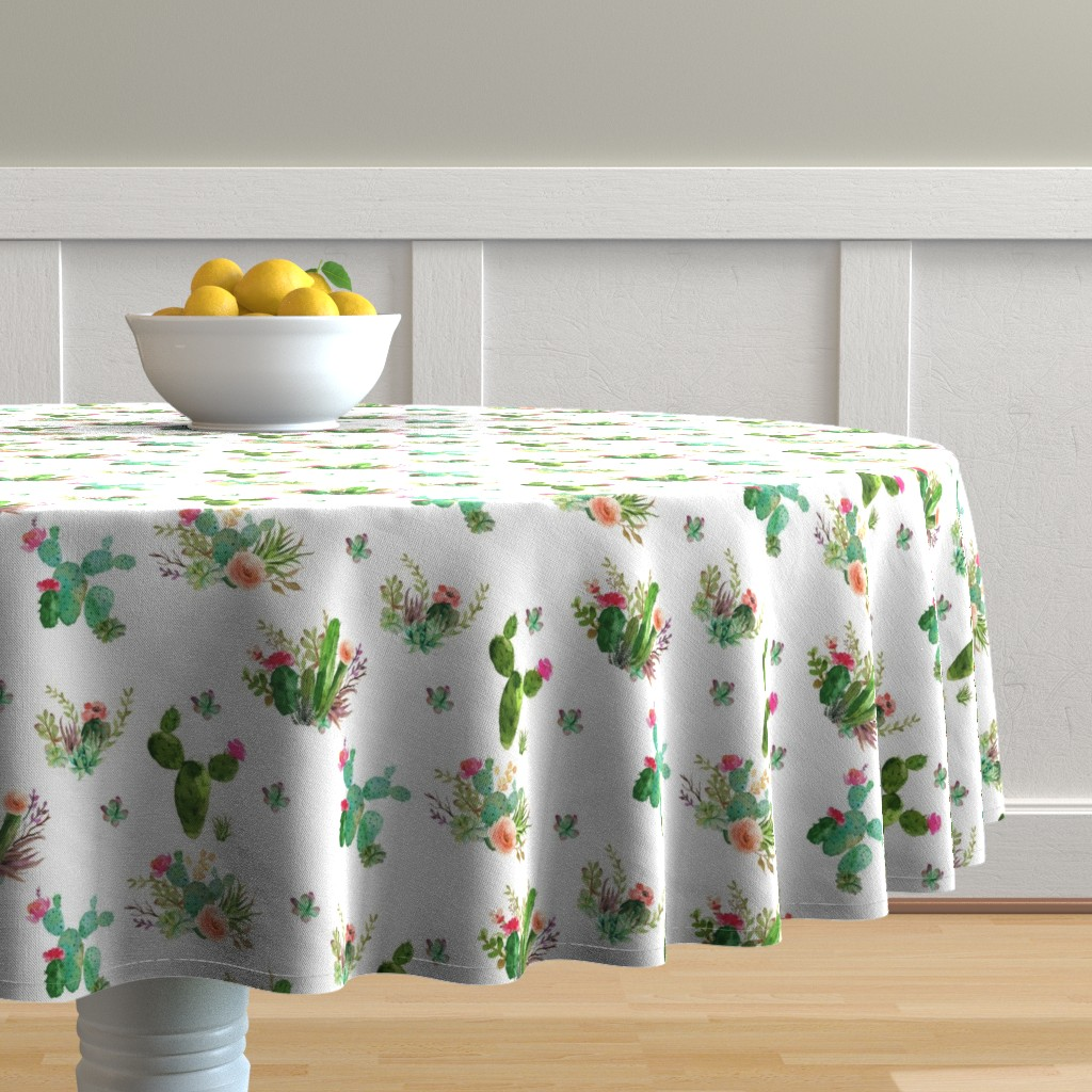 """Malay Round Tablecloth featuring 8"""" Western Flowers - White by shopcabin"""