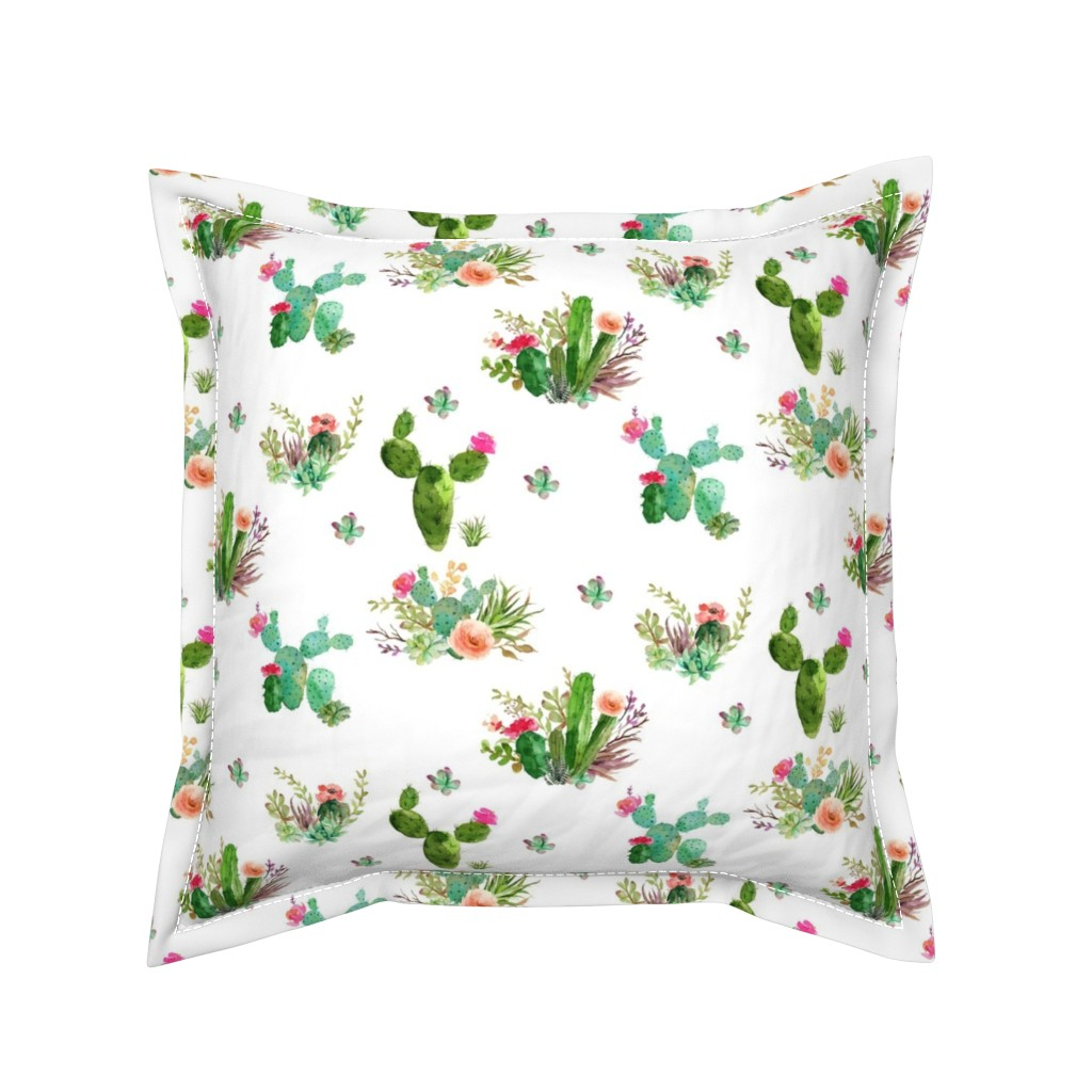 "Serama Throw Pillow featuring 8"" Western Flowers - White by shopcabin"