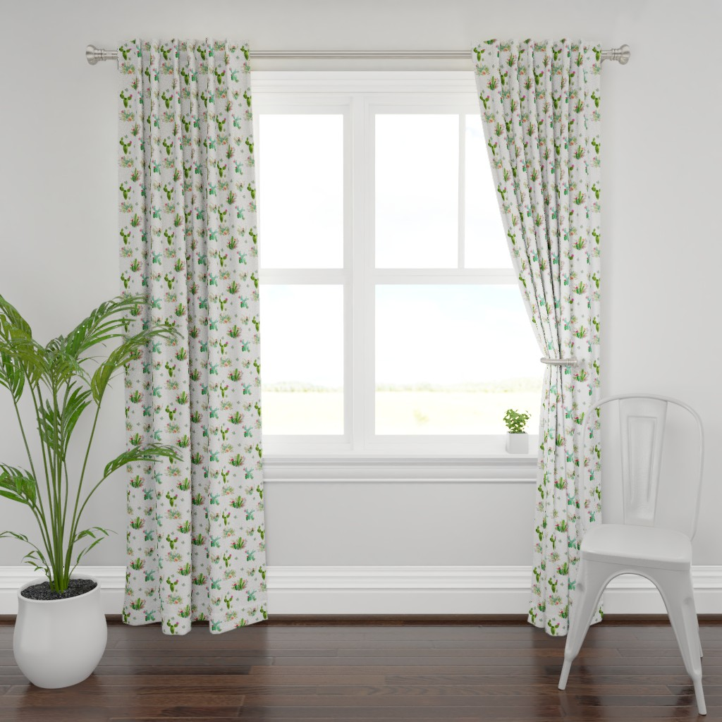 "Plymouth Curtain Panel featuring 8"" Western Flowers - White by shopcabin"