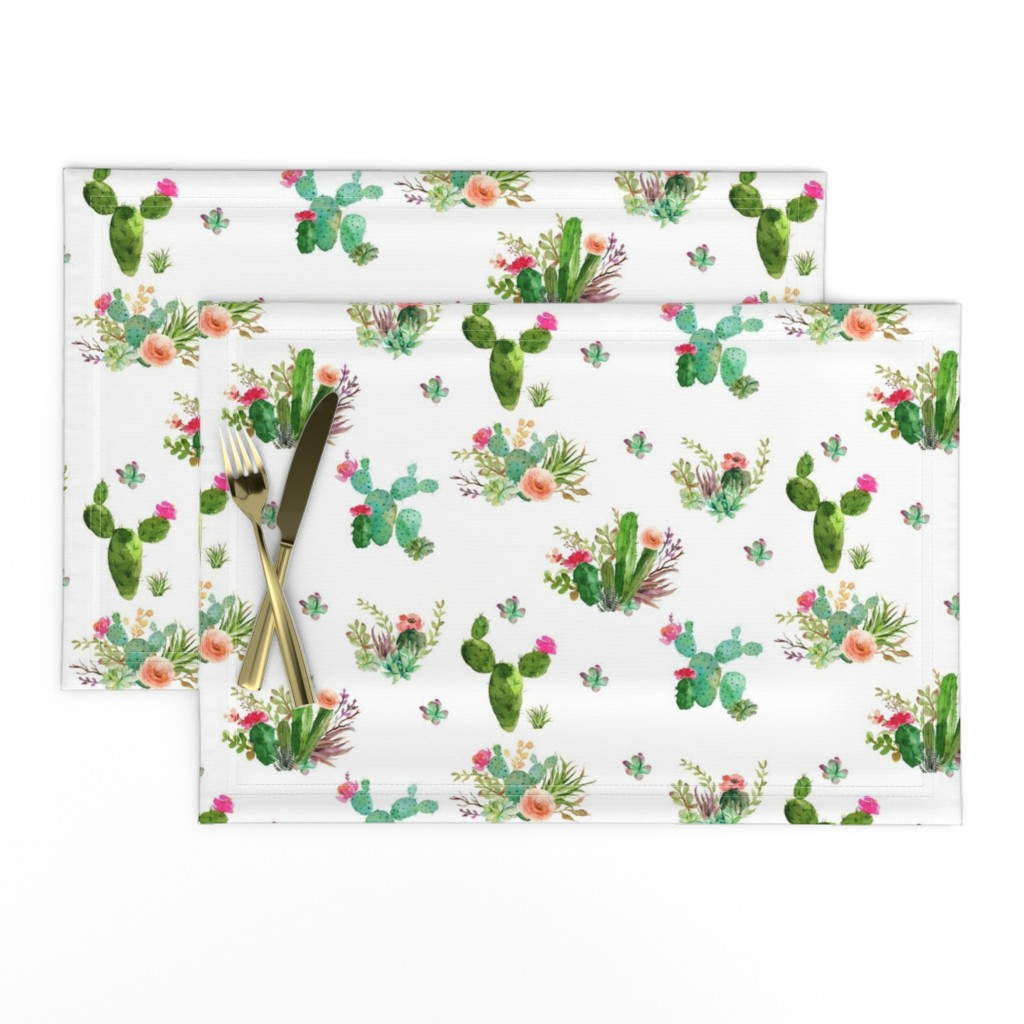 """Lamona Cloth Placemats featuring 8"""" Western Flowers - White by shopcabin"""
