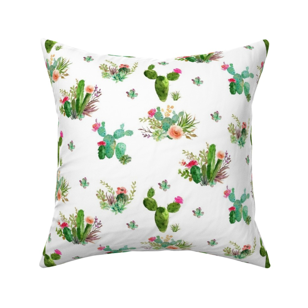 "Catalan Throw Pillow featuring 8"" Western Flowers - White by shopcabin"