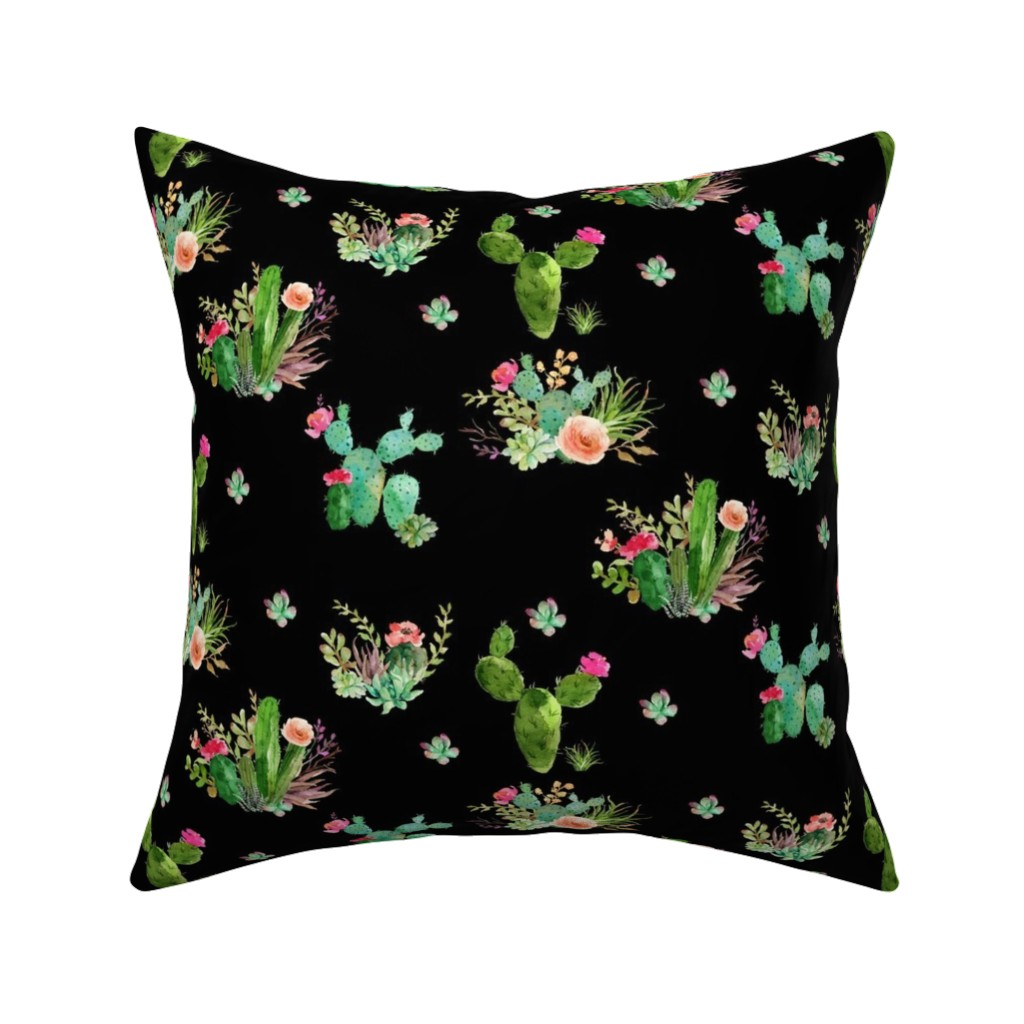 Catalan Throw Pillow featuring Western Flowers - Black by shopcabin