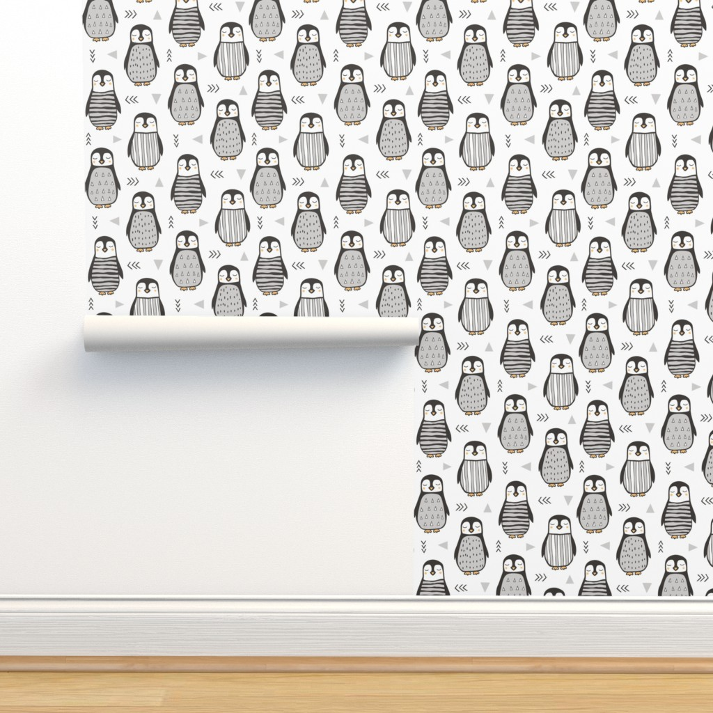 Isobar Durable Wallpaper featuring Penguins Black&White  with Sweater Geometric and Triangles  in Grey on White by caja_design