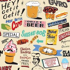Coney Island Food Signs - Beige