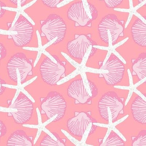 Scallop Shells & Starfish in Pink, Coral, and White