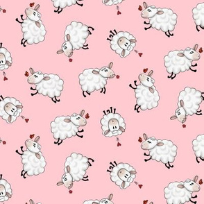 Ditsy Sheep Scatter - Pink