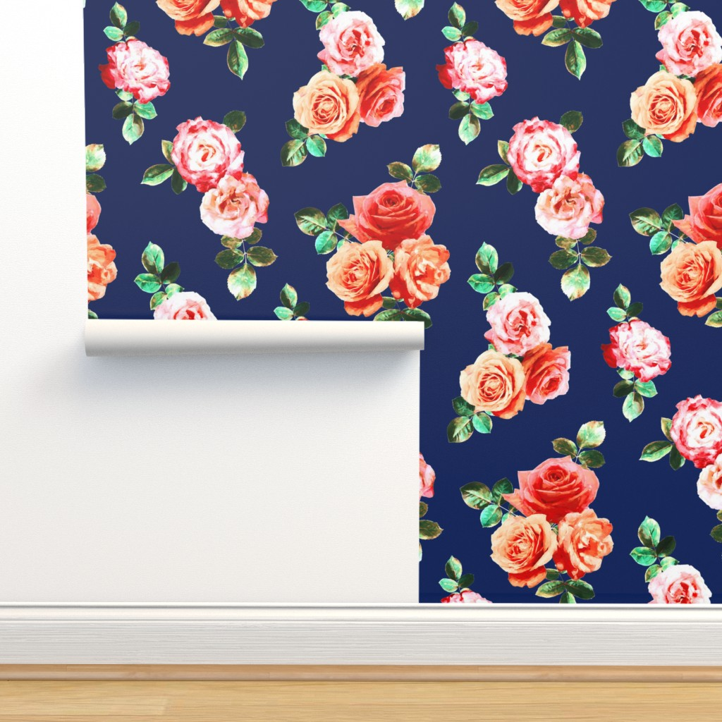 Vintage Rose Floral On Navy Blue On Isobar By Micklyn Roostery
