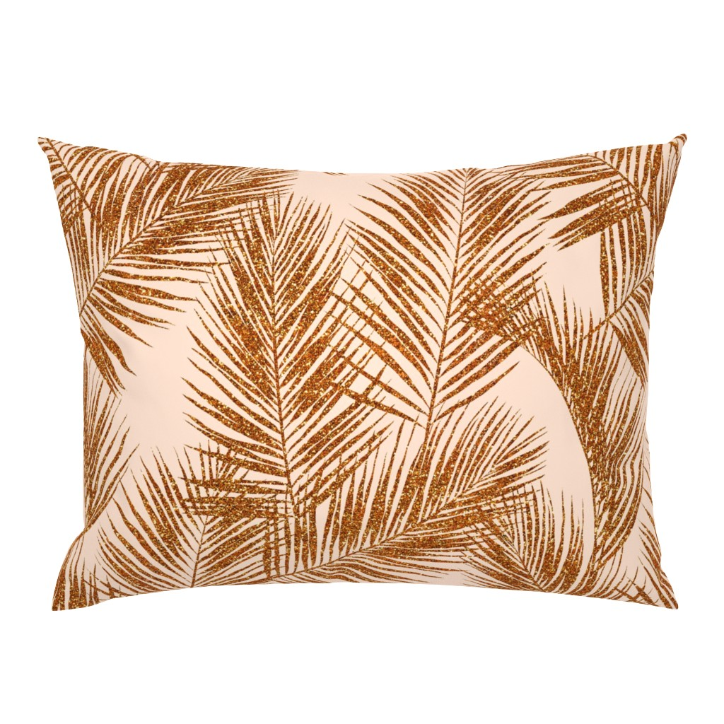 Campine Pillow Sham featuring copper glitter palm leaves - peach, extra large. silhuettes faux copper imitation tropical forest white peach background hot summer palm plant leaves shimmering metal effect texture fabric wallpaper giftwrap by mirabelleprint
