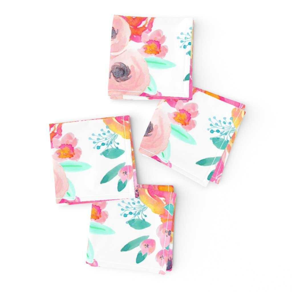 Frizzle Cocktail Napkins featuring Indy Bloom Blush Florals WHITE B by indybloomdesign