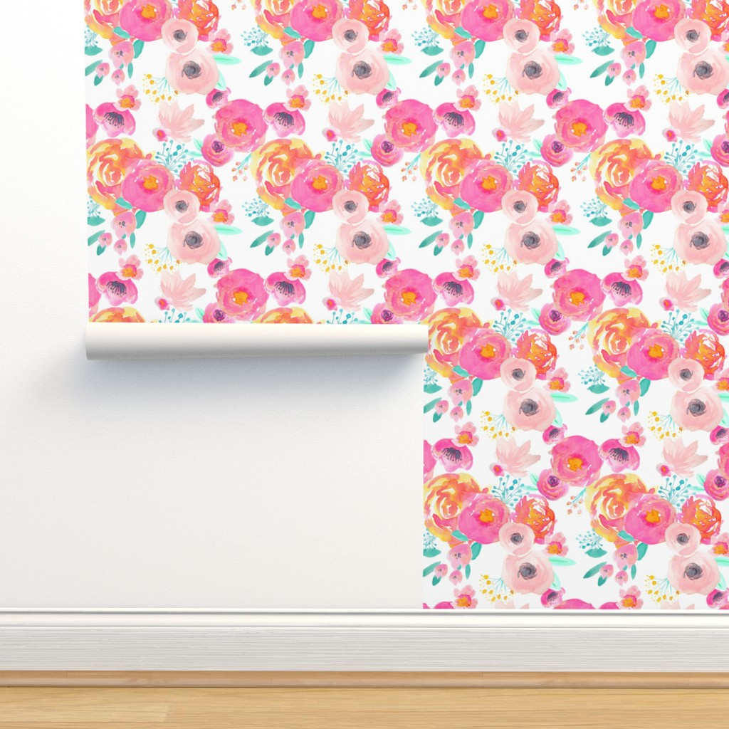 Isobar Durable Wallpaper featuring Indy Bloom Blush Florals WHITE B by indybloomdesign