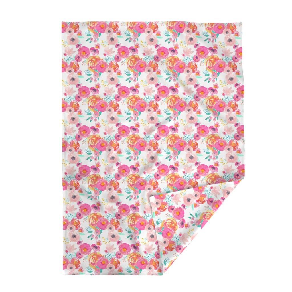 Lakenvelder Throw Blanket featuring Indy Bloom Blush Florals WHITE B by indybloomdesign
