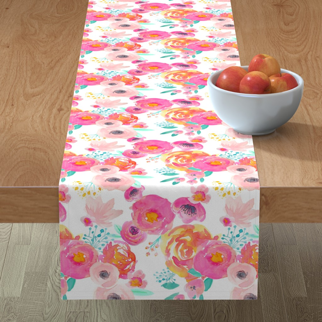 Minorca Table Runner featuring Indy Bloom Blush Florals WHITE B by indybloomdesign