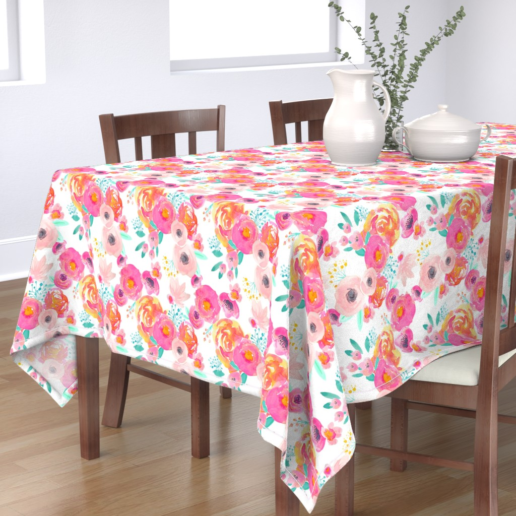 Bantam Rectangular Tablecloth featuring Indy Bloom Blush Florals WHITE B by indybloomdesign