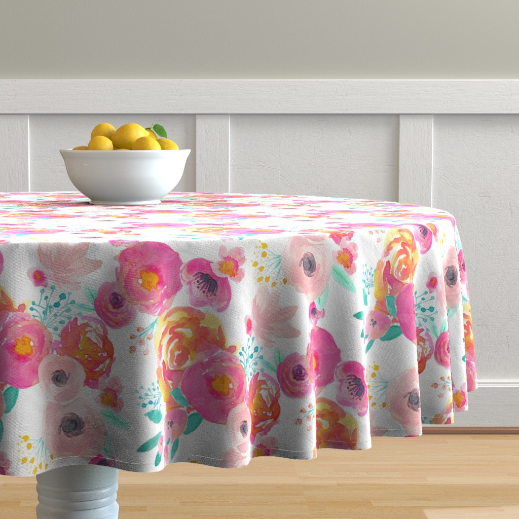 Malay Round Tablecloth featuring Indy Bloom Blush Florals WHITE B by indybloomdesign