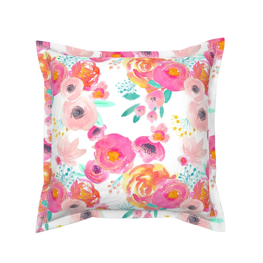 Serama Throw Pillow featuring Indy Bloom Blush Florals WHITE B by indybloomdesign