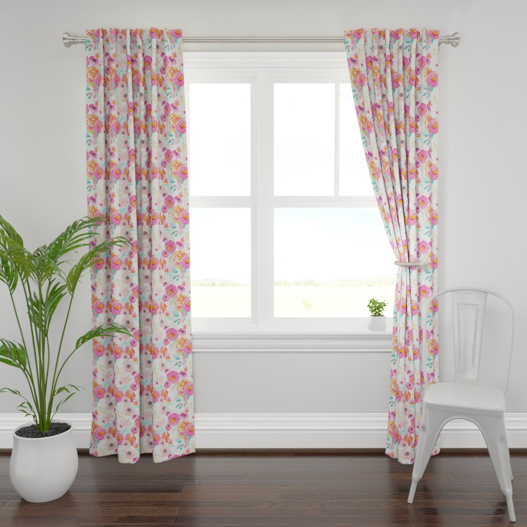 Plymouth Curtain Panel featuring Indy Bloom Blush Florals WHITE B by indybloomdesign