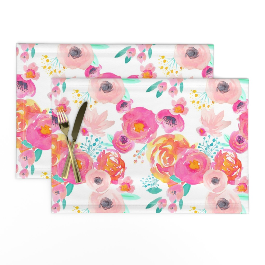 Lamona Cloth Placemats featuring Indy Bloom Blush Florals WHITE B by indybloomdesign