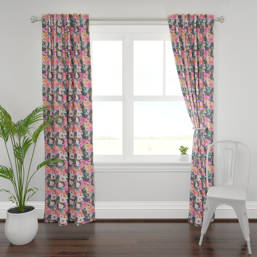 Plymouth Curtain Panel featuring INDY BLOOM BLUSH GREY A by indybloomdesign