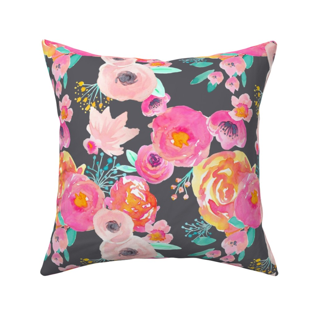 Catalan Throw Pillow featuring INDY BLOOM BLUSH GREY A by indybloomdesign