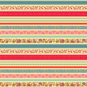 romantic ribbon stripe - tea stain