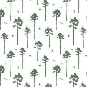 Pine trees & birds // Swedish forrest scandinavian sophisticated print gender neutral baby nursery