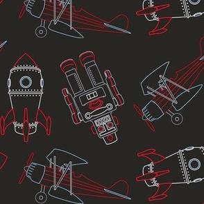 vintage rocket robot and airplane