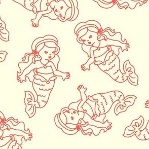 Vintage Mermaids in Cream