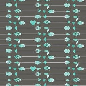 Turquoise Arrows on Gray