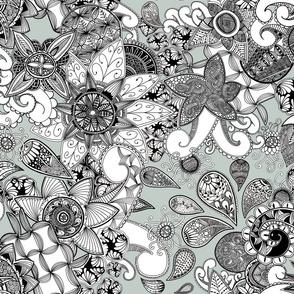 Zen_doodle_wallpaper_Green Grey background