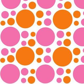 Hot Pink Orange Coral Polka Dot Circle Geometric Design