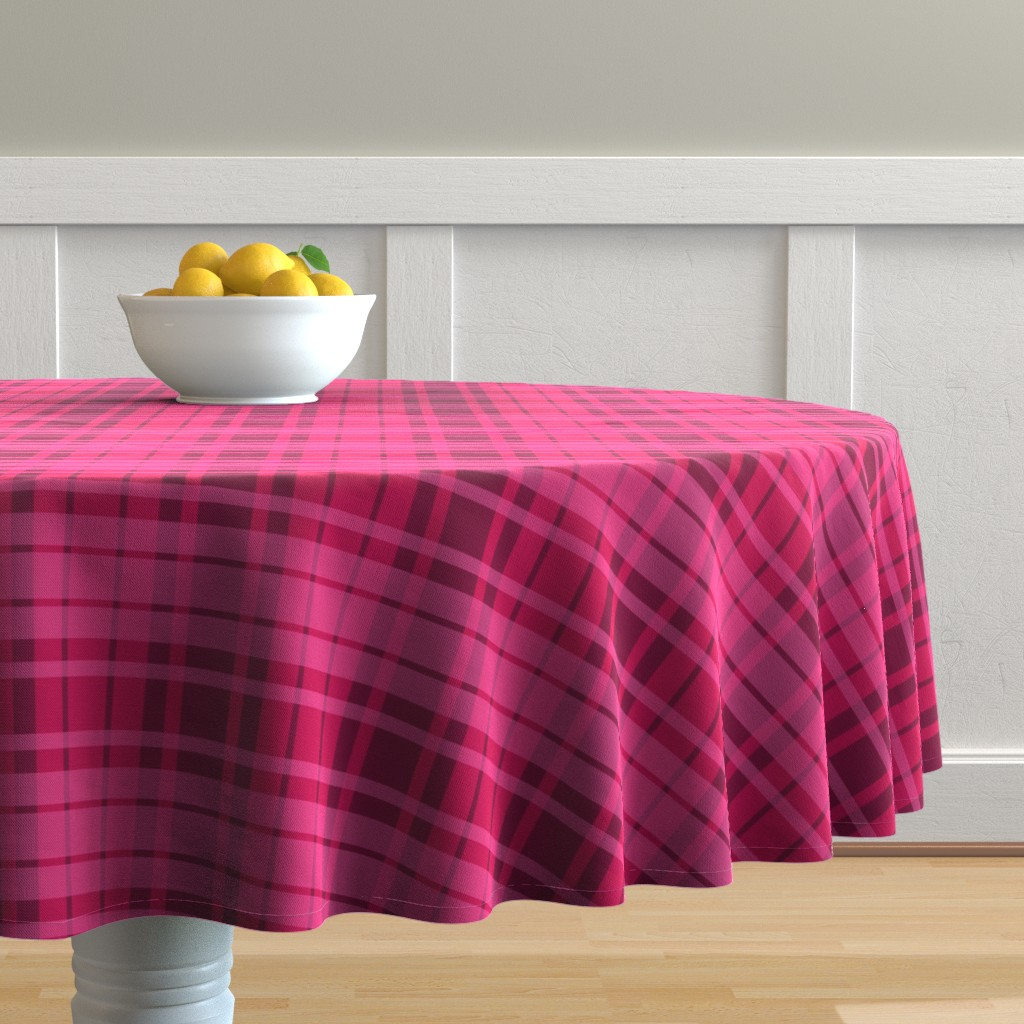 Malay Round Tablecloth featuring UMBELAS PLAID 3 by umbelas