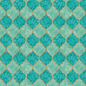 Turquoise Quatrefoil - Seamless - Small