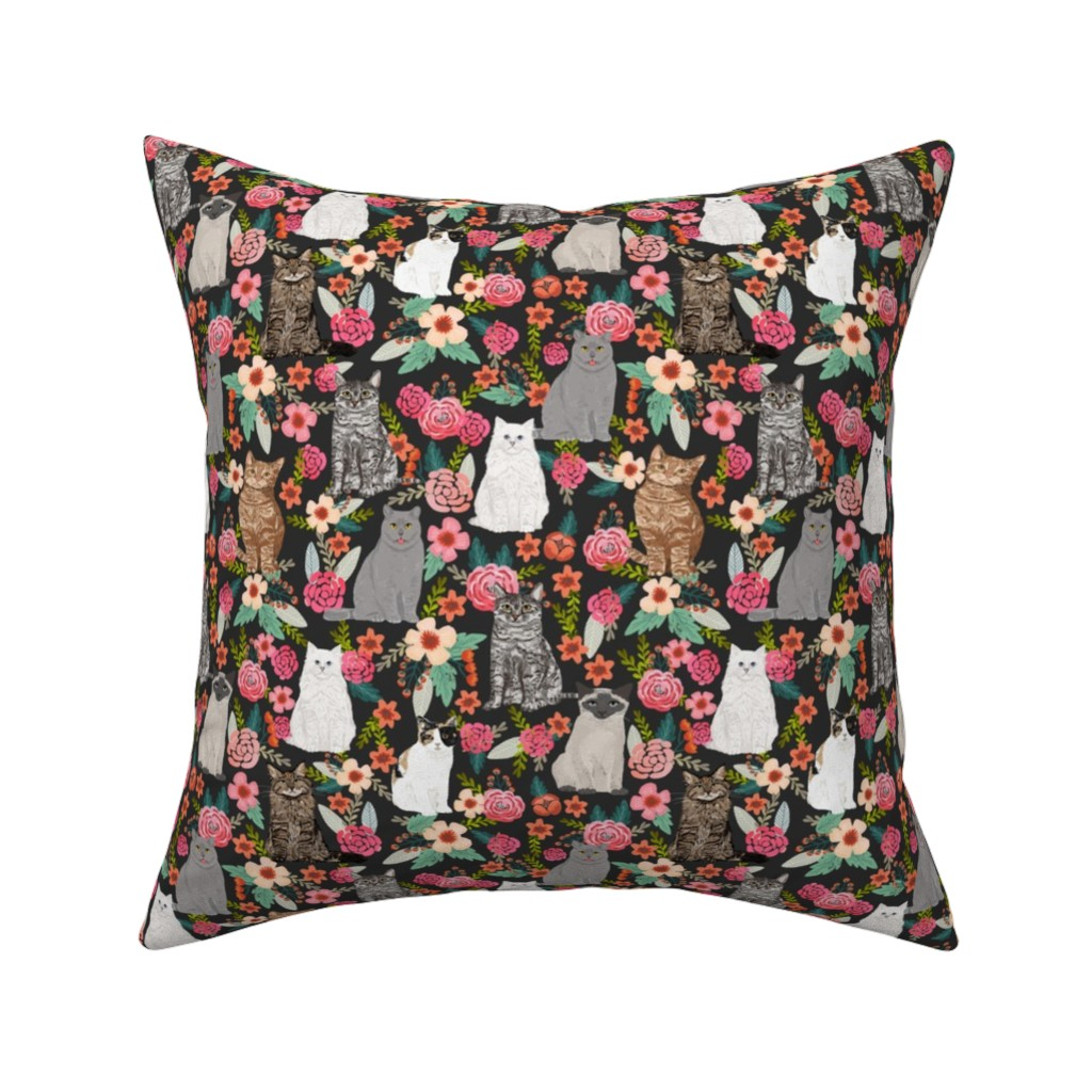 Catalan Throw Pillow featuring cat garden flowers florals vintage style watercolor flowers spring summer cute cats cat lady kitten kitty cat pet cat fabric by petfriendly