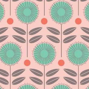 flower shower - mint green and pink