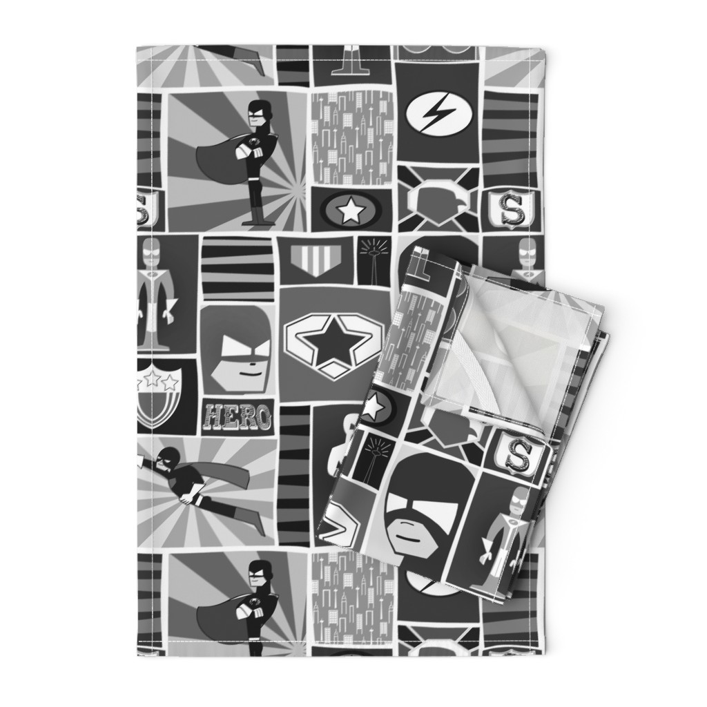 Orpington Tea Towels featuring Cool Comic Book Heroes Black and White by natitys