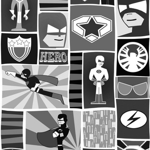 Cool Comic Book Heroes Black and White