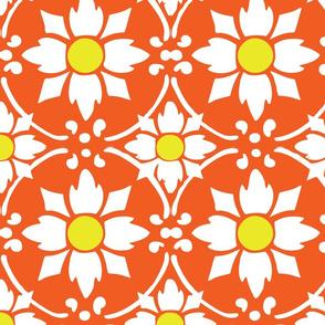 flower tile orange