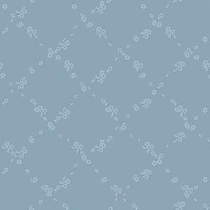 038 Moonlight Cherry Blossom - Blue Crosshatch