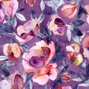 May Afternoon purple and peach watercolor floral