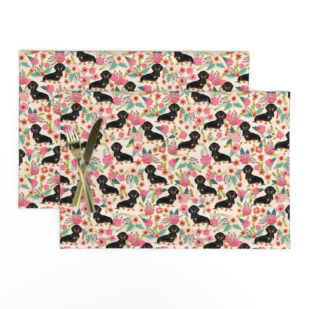 Lamona Cloth Placemats featuring doxie  flowers florals dachshund dachshunds fabric dog cute pet dog fabric for baby leggings cute girls sweet flowers by petfriendly