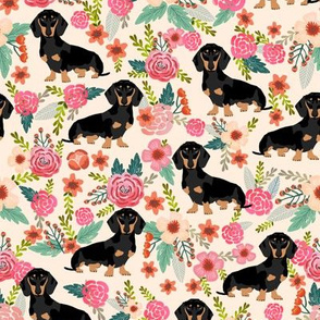 doxie  flowers florals dachshund dachshunds fabric dog cute pet dog fabric for baby leggings cute girls sweet flowers