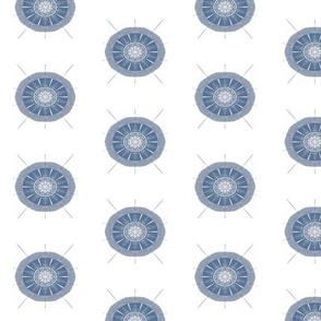Sea Creature Abstract Medallion, Smoky Blue Gray White